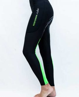 colour block lime horse riding tights left side performa ride
