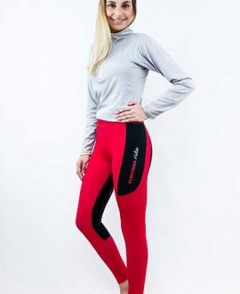 horse riding tights contrast seat thermal red front left side performa ride