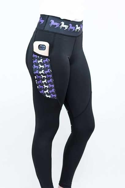 thermal non stick horse riding tights back right performa ride