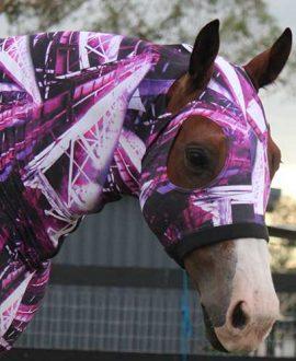 horse lycra hood deluxe purple print right side jojubi saddlery