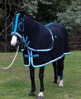 horse rug cotton show set black teal left jojubi saddlery