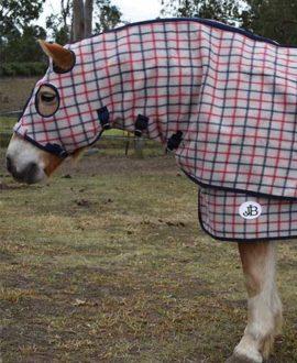 wool horse rug and hood set left side front jojubi saddlery