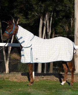 rip stop combo horse rug blue grey left side jojubi saddlery