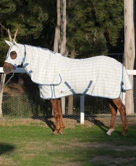 rip stop hooded combo horse rug blue grey left side jojubi saddlery