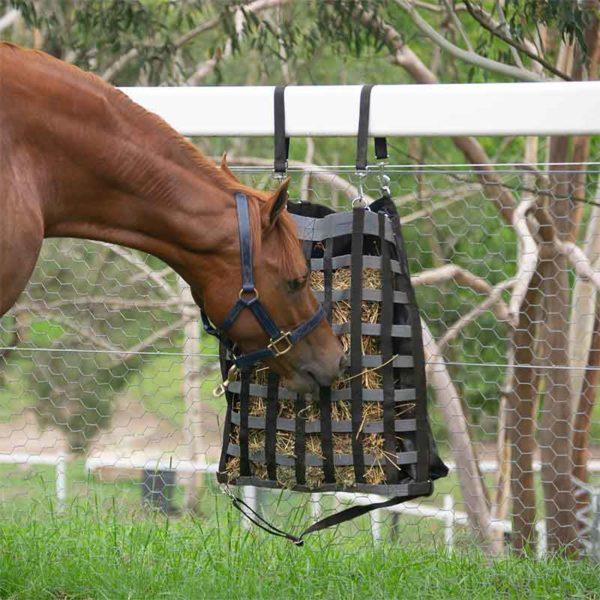 hay bag slow feeder black grey horse eating jojubi saddlery 800