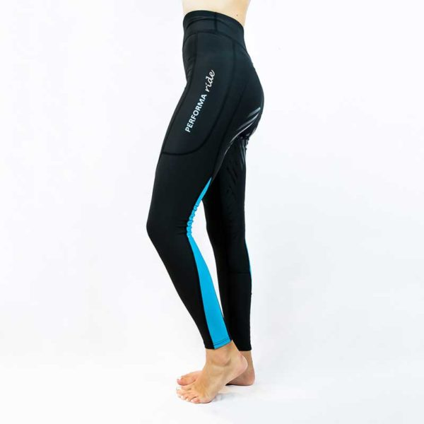 horse riding tights colour block aqua left side performa ride 800