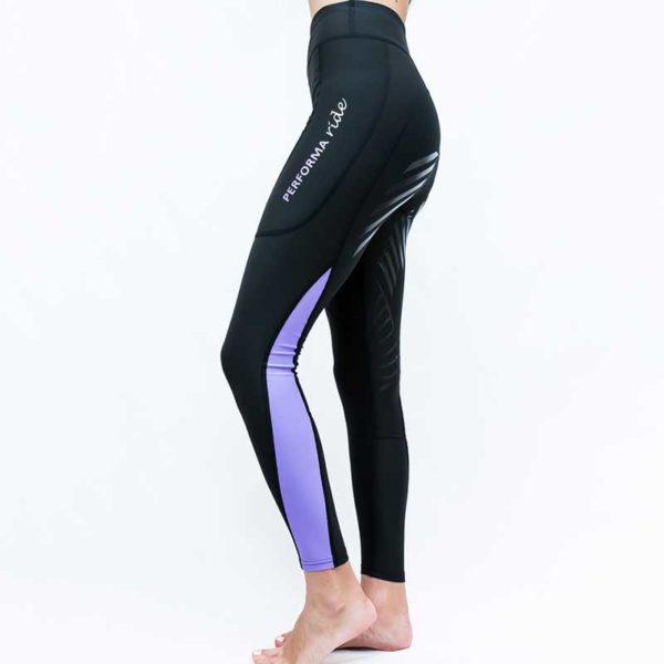 horse riding tights colour block lilac left side performa ride 800