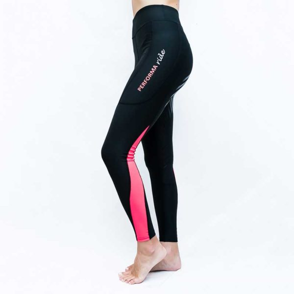 horse riding tights colour block pink left side performa ride 800