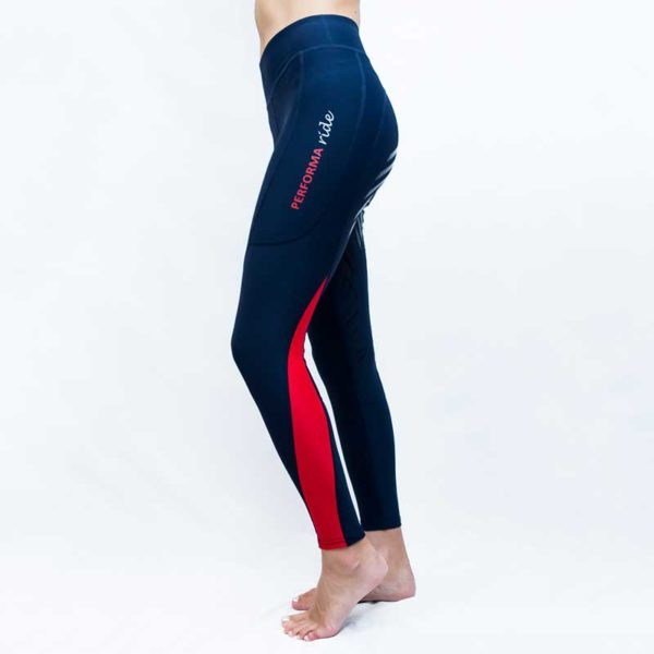 horse riding tights colour block red left performa ride 800