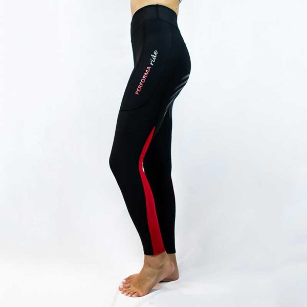 horse riding tights colour block red left side performa ride 800