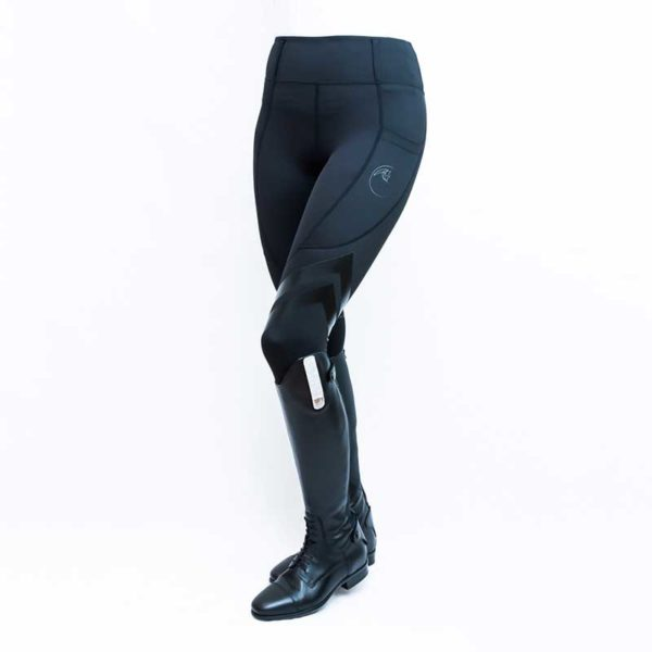 horse riding tights flexion black front left side performa ride 800