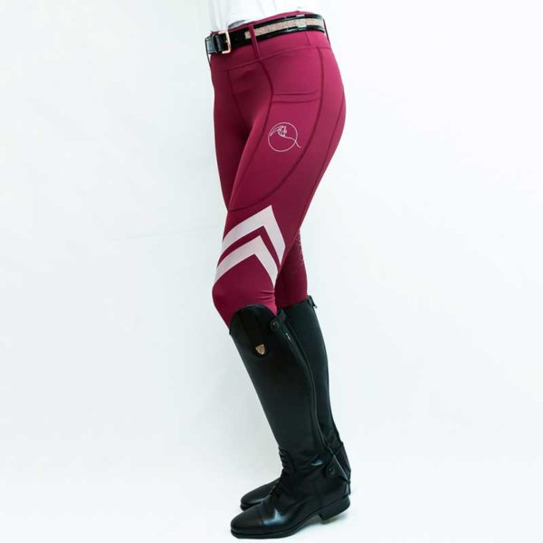 horse riding tights flexion burgundy front left side performa ride 800