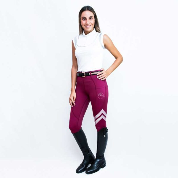 horse riding tights flexion burgundy front performa ride 800
