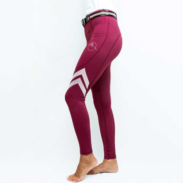 horse riding tights flexion burgundy left performa ride 800