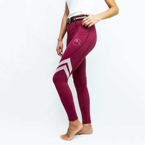 horse riding tights flexion burgundy left side performa ride 800