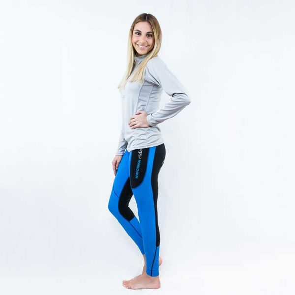 horse riding tights thermal contrast seat blue left side performa ride 800