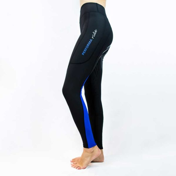 horse winter thermal riding tights colour block royal left performa ride 800