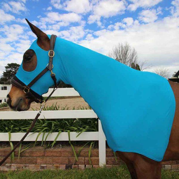 lycra horse hood blue left side jojubi saddlery 800