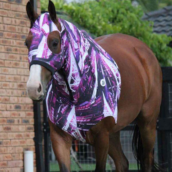 lycra horse hood print pattern front jojubi saddlery 800