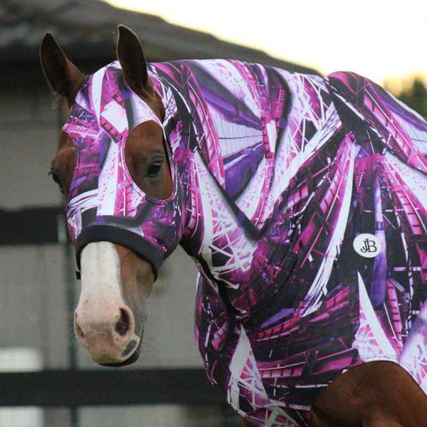 lycra horse hood print pattern front left jojubi saddlery 800