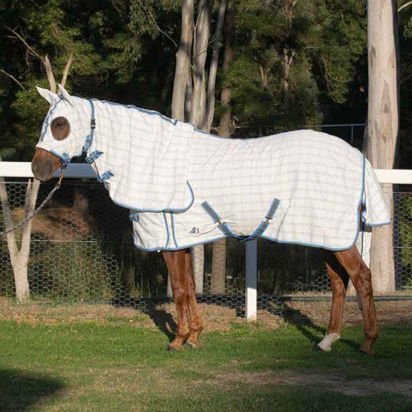 rip stop hooded combo horse rug blue grey left side jojubi saddlery 800
