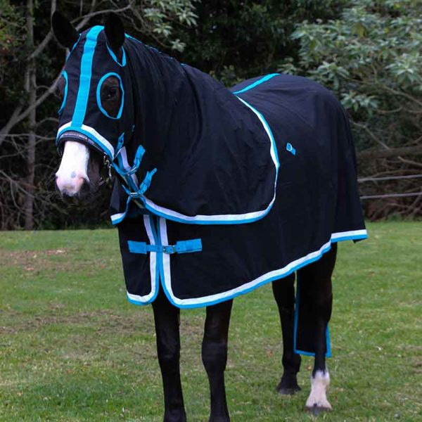 show set horse rug black teal front left jojubi saddlery 800