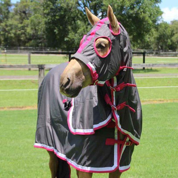 show set horse rug grey pink front jojubi saddlery 800