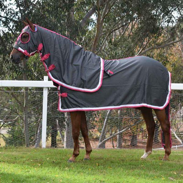 show set horse rug grey pink left side jojubi saddlery 800