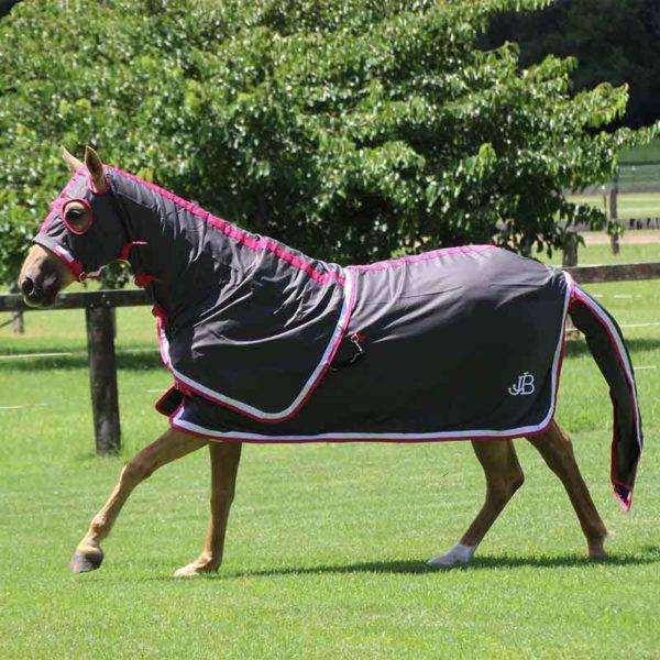 show set horse rug grey pink running left side jojubi saddlery 800