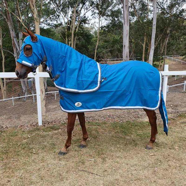 show set horse rug with hood teal left side jojubi saddlery 800