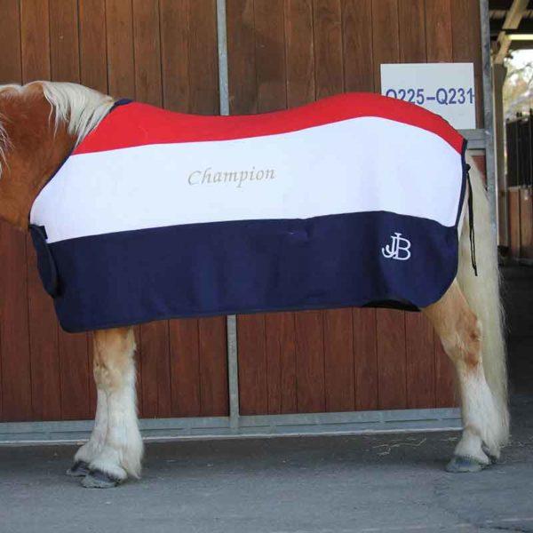 trophy horse fleece rug tri colour left side close up jojubi saddlery 800