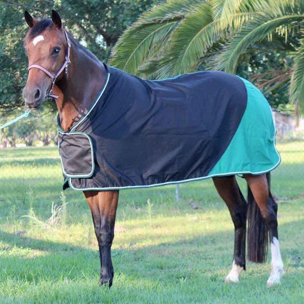 trophy horse rug colour block black green front left jojubi saddlery 800