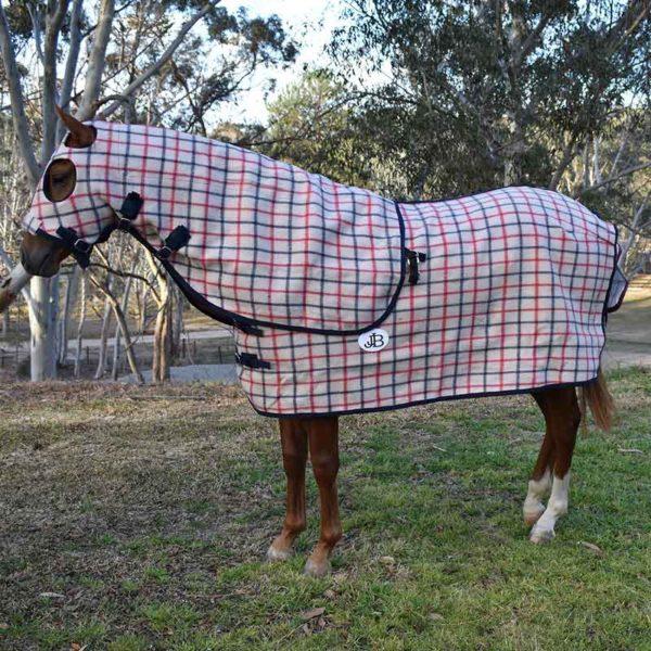 wool horse rug and hood set check pattern left side jojubi saddlery 800