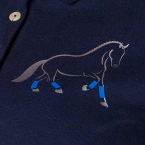 custom design polo shirt blue horse design close up jojubi saddlery 800