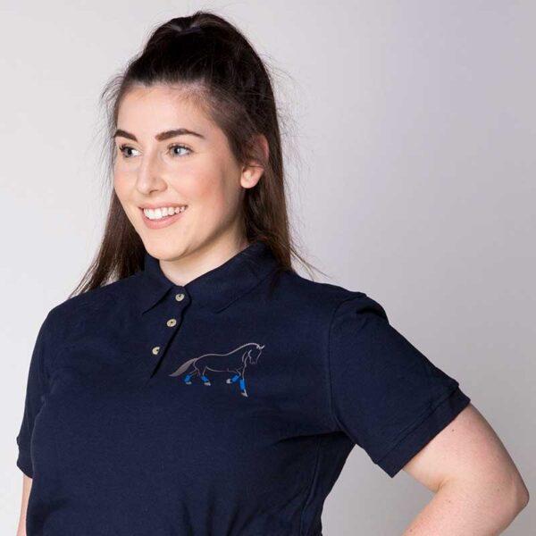 custom design polo shirt blue horse design jojubi saddlery 800