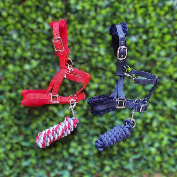 mink horse halter red and navy colour jojubi saddlery 800