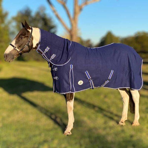 horse fleece combo blue left side jojubi saddlery 800