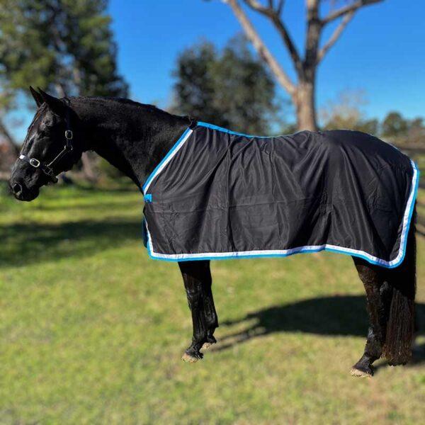 trophy horse rug black aqua left side jojubi saddlery 800