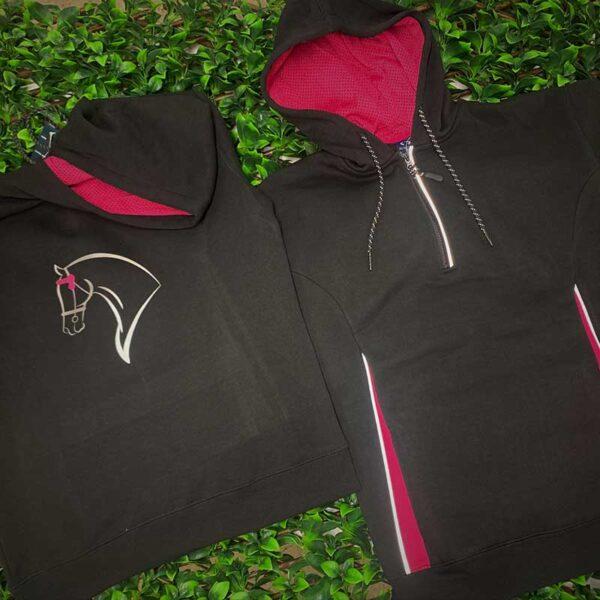 horse riding hoodie template black magenta front back jojubi saddlery 800