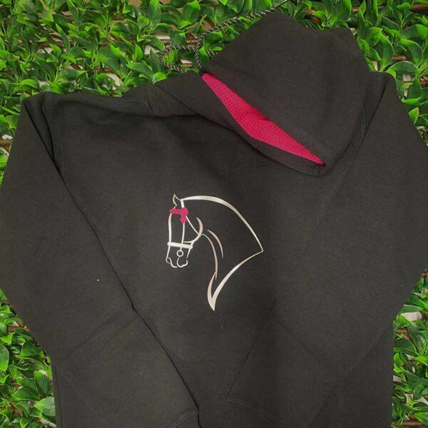 horse riding hoodie template black magenta front jojubi saddlery 800