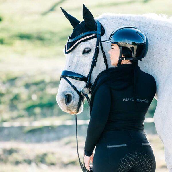 luna baselayer equestrian top black back left model b performa ride 800