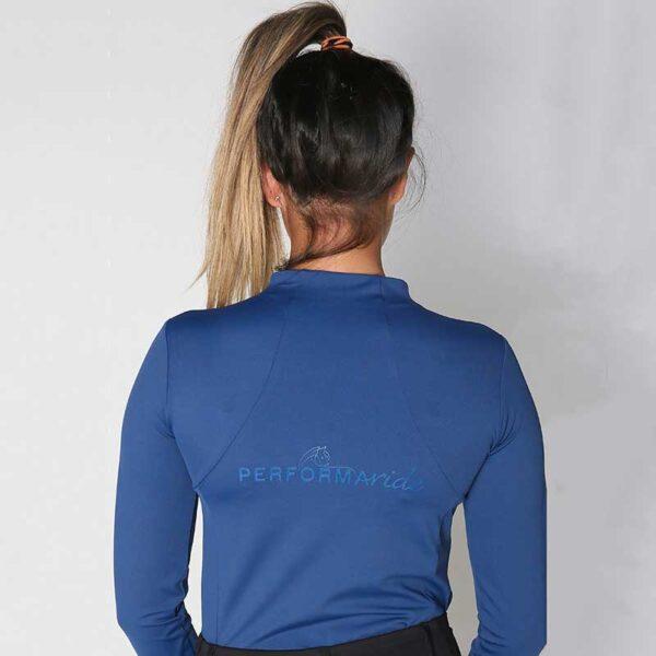 luna baselayer equestrian top blue back performa ride 800