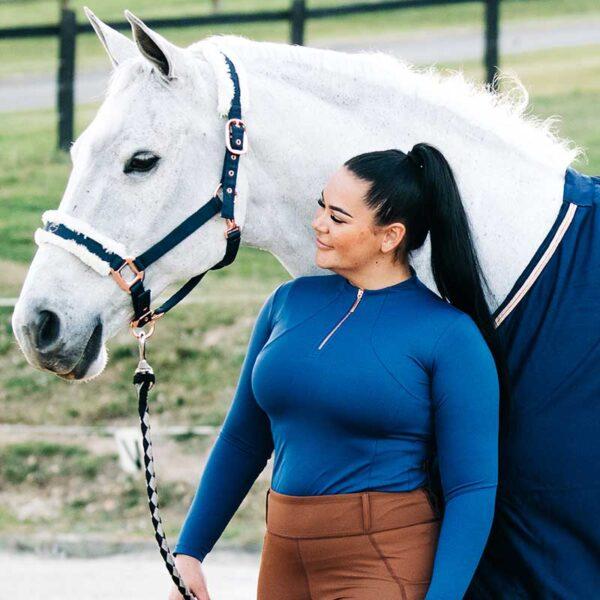 luna baselayer equestrian top blue front performa ride 800