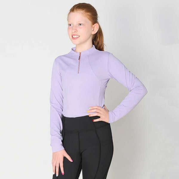 luna baselayer youth equestrian top lilac front performa ride 800