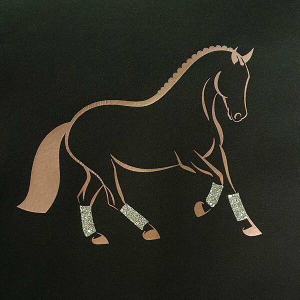 softshell jacket with rose gold dressage horse embroidery close up jojubi saddlery 800