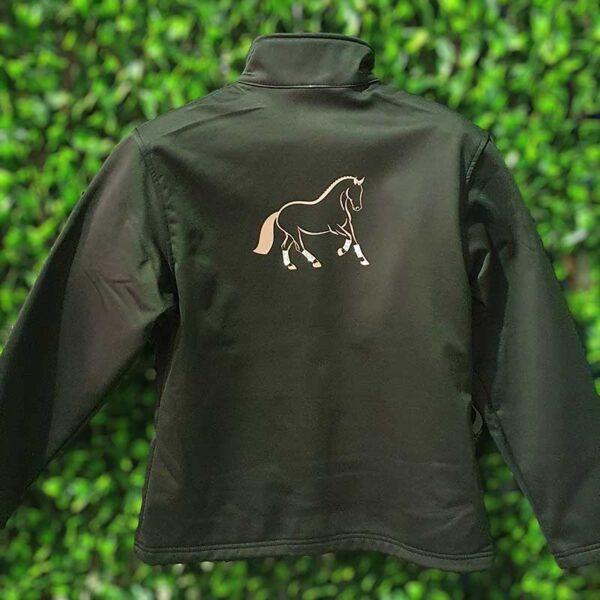 softshell jacket with rose gold dressage horse embroidery jojubi saddlery 800