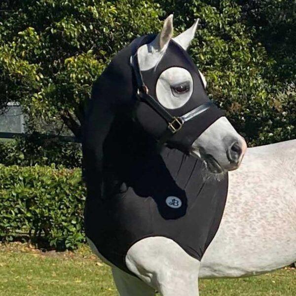 lycra horse hood black front left side jojubi saddlery 800