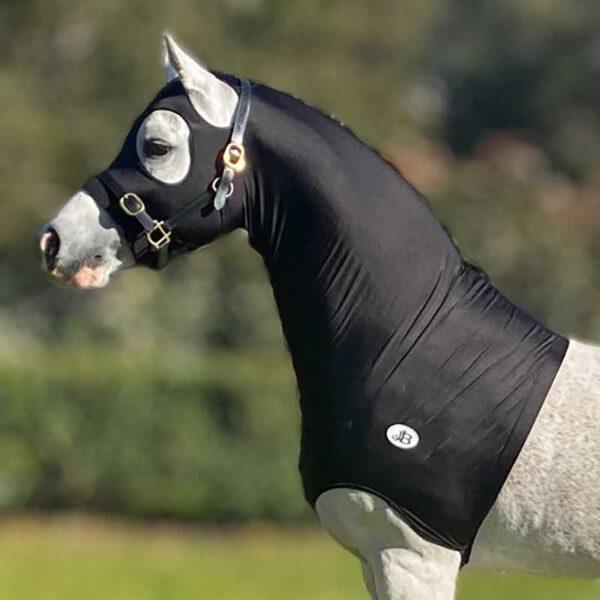 lycra horse hood black left jojubi saddlery 800