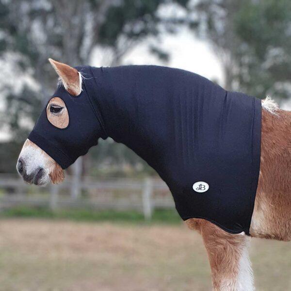 lycra horse hood black left side jojubi saddlery 800